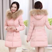 2015 Direct Selling Time-limited Long Zipper Winter Jacket Women Thickening Medium-long Down Coat Female Slim Waist Large Collar