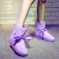 2014 New Fashion Women Boots Stitching Home Warm Winter Shoes Lace Ribbon Bow Plush Korean Warm Snow Boots 102