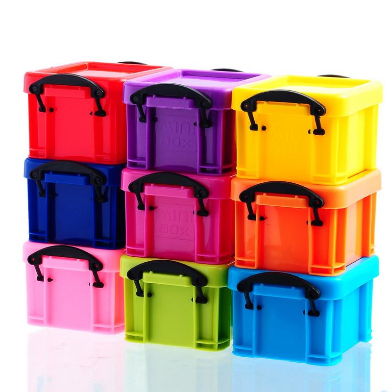 Jewelry Storage 1Set(9PCs) Multicoloured Plastic Storage Boxes With Lids 8.5x6.5cm(China (Mainland))