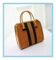 Free shipping High quality Retro matte leather handbags, hit the color stripe bag, 2015 new fashion handbag