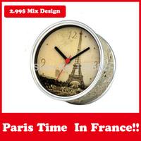 Cheap Tourist Souvenir Paris City Wall Clocks Gift in Magnetic Table Desk Clock Mix Design Like Love/London Clocks Moq 100PCS