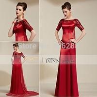 Top quality design 30813 Short Train  Long Sequined Short Sleeve Red Bridal Wedding Dress elegant Dress 1pc+free shipping