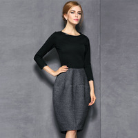 2014 autumn and winter women fashion quality slim woolen one-piece dress long-sleeve patchwork
