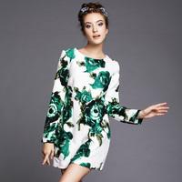 S-5XL Brand new Elegant Floral Print Long Sleeve Knee Length Women Casual Dresses Autumn Winter 2014 Fashion Plus Size Clothing