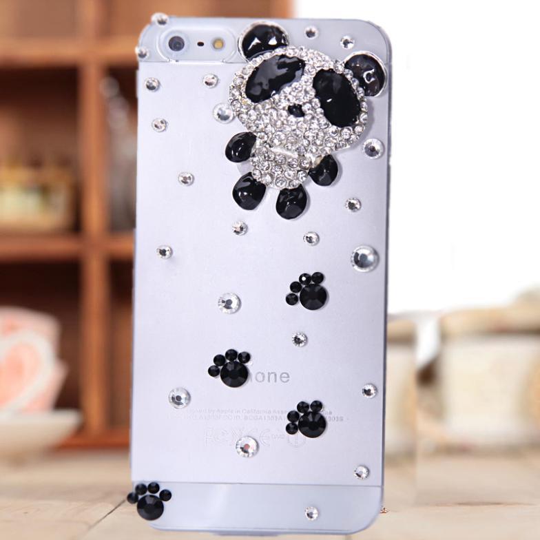 2014 fashion phone Border Protection Case for iPhone 4 4s case for iPhone 5 5s diamond small panda phone bag(China (Mainland))