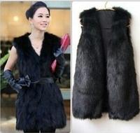 Autumn Winter Ladies Oversize Sleeveless Coat Colete Mid-Long Luxurious Women Black/Camel/Khaki/White Faux Fur Jacket Vest Gilet