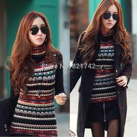 Fashion Korean Womens Casual Slim High Collar T-shirt Long Sleeve Retro Striped Printed Tops Blouse
