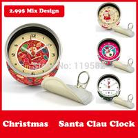 Merry Christmas New Gifts Clocks Santa Clau Clocks Magnetic Wall Clocks in Magnetic Table Desk Clock Mix Design Moq 100PCS