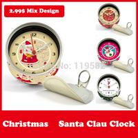 2015 New Year Gifts Santa Clau Table Clocks Magnetic Wall Clocks in Magnetic Table Desk Clock Mix Design Moq 100PCS