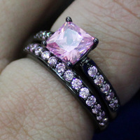 Lady's 18K Black Gold Filled Square Pink Sapphire Crystal Stone CZ Pave Set  Wedding Ring Set