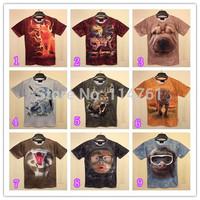 [hot sale] FREE SHIPPING New Harajuku print 3D T-shirt Leopard/Cat/Dog/full dog head/Husky Doge short sleeve cotton men tshirts