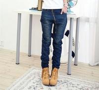 Fashion Ladies Zipper Decoration Slim Skinny Hanging Crotch Harem Jeans Pants