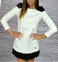 S-XL 2014 new fashion women's autumn winter dresses casual splicing dress FOR WOMEN