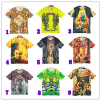 [hot sale] FREE SHIPPING 2014 newest style 3D tshirt men high quality cartoon/building/anima printed cotton t-shirt 21models