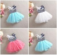 EMS DHL Free shipping 2015 kids baby girl dress summer girl stripe cotton Princess dress Korean hot lace dresses bow dress cloth