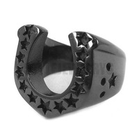Free Shipping! U-Shaped Horseshoe Ring Stainless Steel Jewelry Black Plated Classic Biker Ring Wholesale SWR0028B