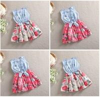 Free shipping DHL EMS 2015 new baby girl dress clothing summer Korean flower floral dress bow dresses for girls princess dress