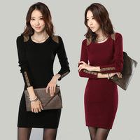 Women Winter Dress 2014 New Fashion Buttons Desigual Patchwork Casual Dress Long Sleeve Autumn Bodycon Dresses Vestidos