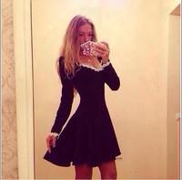 Autumn Long Sleeve Cotton Women Black Slim Pleated MINI Cocktail Party Dress Lady Night Club Wear Elegant Vedtidos 2014  WZA854