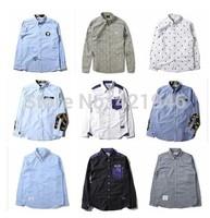 HOT  MiMiHoo 2014 new winter clothes BAPE male striped shirt long-sleeved shirt shirt pockets T-shirt wholesale