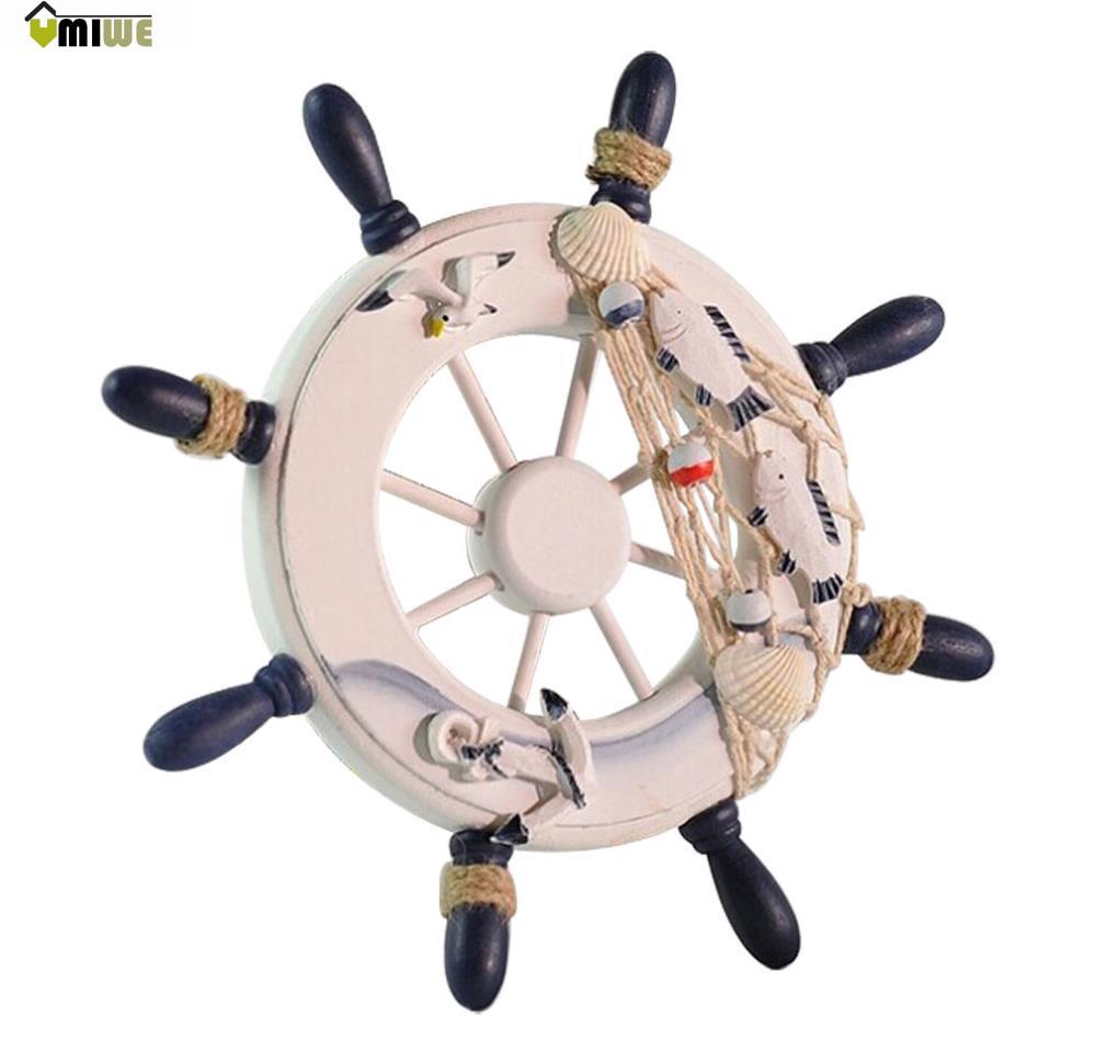 Umiwe Ornamental Home Nautical Wall Marine Decor Wood Pirate Ship Helm Wheel, Random Color(China (Mainland))
