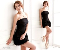 Europe and the United States Sexy Sleeveless Backless Strapless Evening Club Party MINI Lace Cake  Dress for Women WZA860