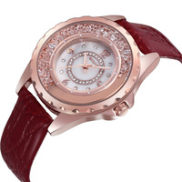 Counters Authentic SKONE Brand watches, Flow Diamond Quartz Watches, Leather Rose Gold Fashion Ladies Watch, 9303