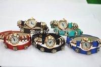 2014 Brand New Leather Wrap Quartz Crystal Button Charm Bracelet Wrist Watch Pave