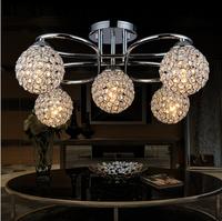Modern minimalist K9 crystal chandelier 5 head iron crystal lamp  bedroom living room restaurant crystal lamp