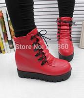 2014 winter high platform shoes plus velvet women's elevator casual shoes sports cotton-padded shoes