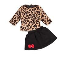 EMS DHL Free Shipping Kids toddler girls Children Thicker Casual kids Autumn Winter Fleece 2pc set Leopard T Shilrt + Skirt