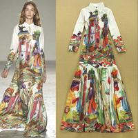 2015 New Arrival Catwalk Fashion Dress Women's Long Sleeves Turn Down Collar Button Ethnic Figure Printed Ruffles Boho Dress