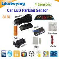 Three BiBi sound Car LED Parking Sensor Kit Backlight Display Radar Monitor System 12V 4 Sensors Free Shipping High Quality