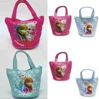 Newest Fashion 10pcs/lot Mini Zipper Bag Coin Handbag Xmas Gift Frozen Elsa Anna Purse Wallet canvas bucket Handbags