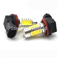 Wholesale White 2pcs / lot H11 7.5W Car LED Fog Lamp Automobile Light Bulbs Wedge High power