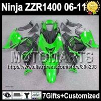 7gift Green black For KAWASAKI 06 07 08 09 10 11  52J142 Green black ZZR 1400 2006 2007 2008  2010 2011 NINJA ZZR1400  Fairing