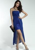 Hot Sale Sexy Women Cocktail Party Dress Strapless Chiffon Asymmetric Lady Dress with Draped Sheet Free Shipping B4937 Eshow