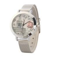 Free shipping Silver Mesh Steeless Steel Mesh Fashionable  Classic Eiffel Paris  Woman Watch Lady Watches
