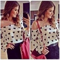 2014 women fashion blouse casual heart print women tops full sleeve chiffon women blouse Blusas