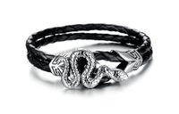 Fashion Charm Wrap Bracelets Wristband Men Jewelry Biker Snake Stainless Steel Leather Bracelets for Men 3pcs/lot,BC1670