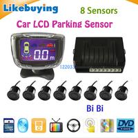 Three BiBi sound Car LCD Parking Sensor Kit Backlight Display Radar Monitor System 12V 8 Sensors Free Shipping High Quality