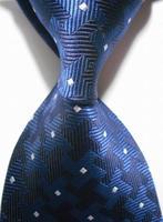 New  2014  Checked White Blue JACQUARD WOVEN Men's Tie Necktie     405