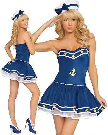 Marinheiro da marinha uniforme cosplay festa de natal das bruxas traje Sexy strapless vestido azul com chapéu para as mulheres tamanho livre(China (Mainland))
