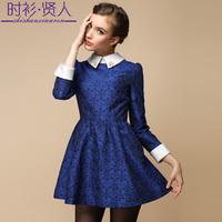 S-3XL 2014 autumn winter beading turn-down collar long-sleeve vintage jacquard slim elegant one-piece casual dress fashion dress