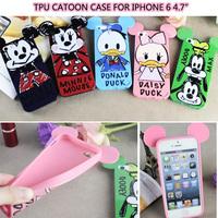 Cartoon Case Patterns Mickey Minnie Dale Goofy Daisy Donald TPU Back Cover for Apple iPhone 6 iPhone6 i6 Phone Case Capa Celular