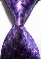 New Striped Pink Black JACQUARD WOVEN Men's Tie Necktie    402