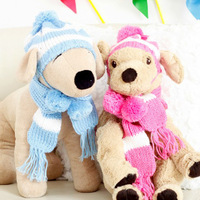 Pet Dog Apparel Winter Warm Knitted Hat Scarf Pom-pom Cap Collar Clothes Costume