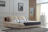 0414-809 modern design soft leather bed