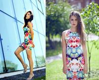 Hot Print Sexy Party Dresses Vestidos Femininos Sleeveless Slim Fit  Multi Floral Printed Sundress Short Dress