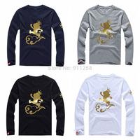 Lovely Cute Monkey Printing Famous Brand Rock Men 3D Cotton Casual Long Sleeve T-shirt Men Autumn Fashion Tees Size M-XXL FS3217